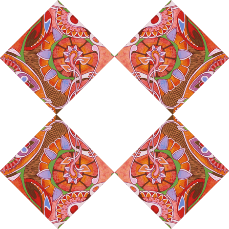 Diagonal Floral Squares (white background) fabric by edsel2084 on Spoonflower - custom fabric