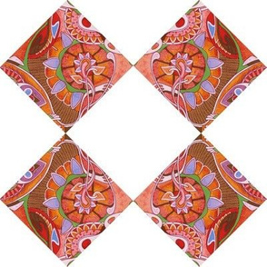 Diagonal Floral Squares (white background)