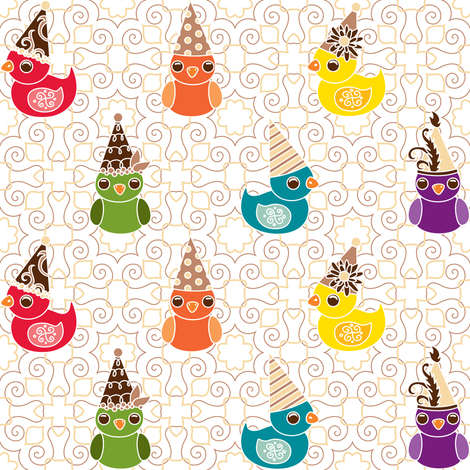 Party Birds Rainbow fabric by jillianmorris on Spoonflower - custom fabric