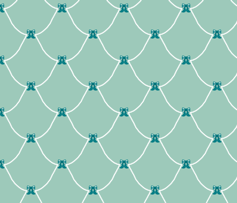 Chic Birdie Bows Blue fabric by modgeek on Spoonflower - custom fabric