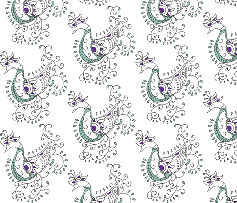 Henna Peacock fabric by dsgngrl on Spoonflower - custom fabric