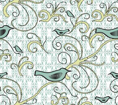 Fly Green Birdie - Medium Scale - 04M - Pale Aqua Green Birds With Pale Citron Swirl on Pale Aqua Green/White Symmetrical Background