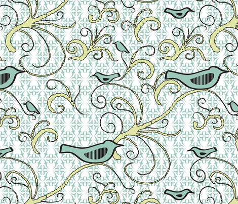Fly Green Birdie - Medium Scale - 04M - Pale Aqua Green Birds With Pale Citron Swirl on Pale Aqua Green/White Symmetrical Background