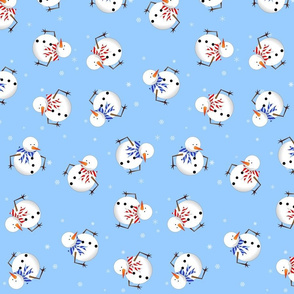 Cute Snowman Print - Light Blue