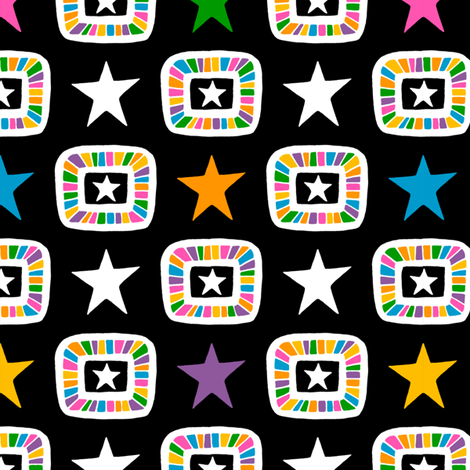 Candy Stars on Black fabric by siya on Spoonflower - custom fabric