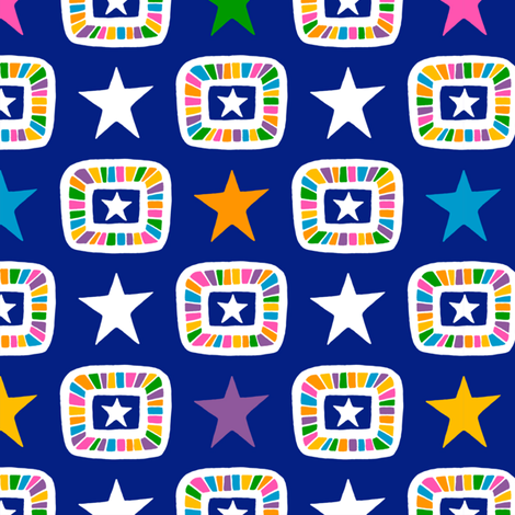 Candy Stars on Indigo fabric by siya on Spoonflower - custom fabric