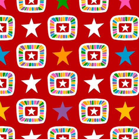 Candy Stars on Red fabric by siya on Spoonflower - custom fabric