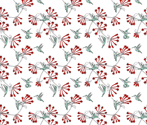 A_Charm_of_Hummingbirds fabric by walkathon on Spoonflower - custom fabric