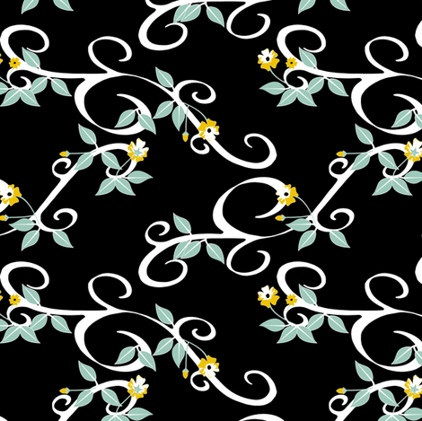Blossoming - Black fabric by inscribed_here on Spoonflower - custom fabric