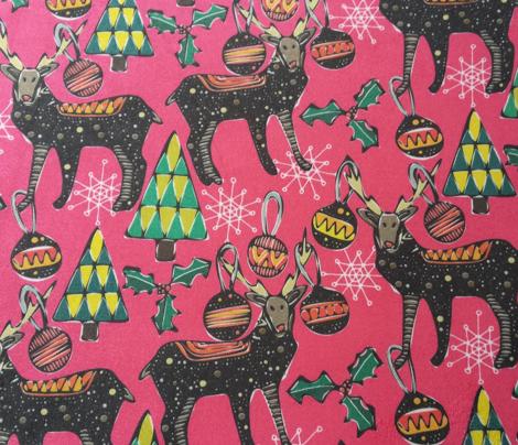 festive deer pink small