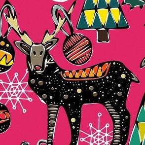 festive deer pink