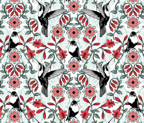 Hummingbird garden fabric by cjldesigns on Spoonflower - custom fabric