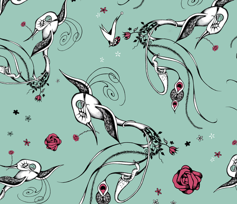 Pitcher Birds - limited palette fabric by lisa_godfrey on Spoonflower - custom fabric