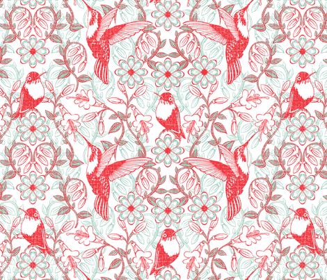 Hummingbird garden antique fabric by cjldesigns on Spoonflower - custom fabric