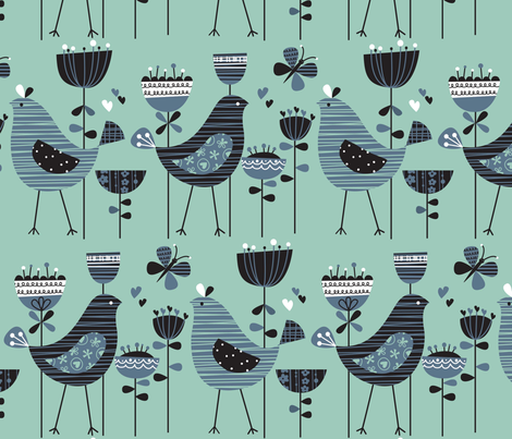 chirpy chirp tweet aqua fabric by amel24 on Spoonflower - custom fabric