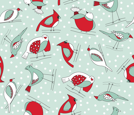 Winter's a-comin birds fabric by marleyungaro on Spoonflower - custom fabric