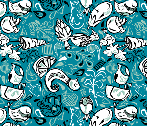 Fruit and Vegeta-birds-Limited Color Range + Blue fabric by gsonge on Spoonflower - custom fabric