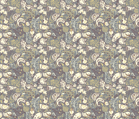 Fruit and Vegeta-birds- Grays, Purples, Gold fabric by gsonge on Spoonflower - custom fabric