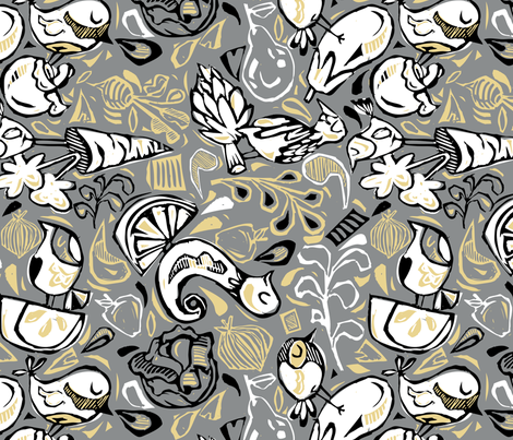 Fruit and Vegeta-birds-Gray, Gold, White