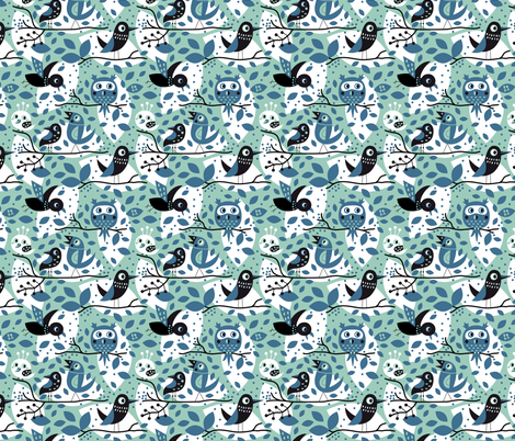 Birds in blue fabric by bora on Spoonflower - custom fabric