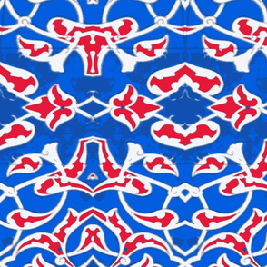 Tahtakale Pattern Silk Crepe de Chine Blue-Red