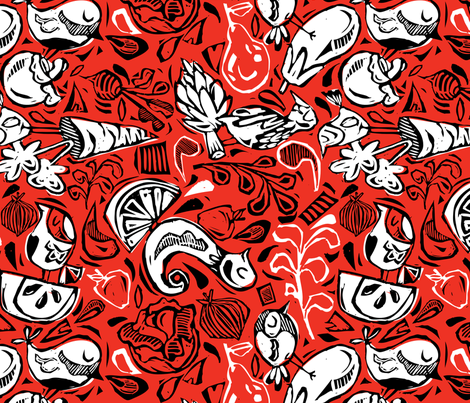 Fruit and Vegeta-birds- Red, Black, White fabric by gsonge on Spoonflower - custom fabric