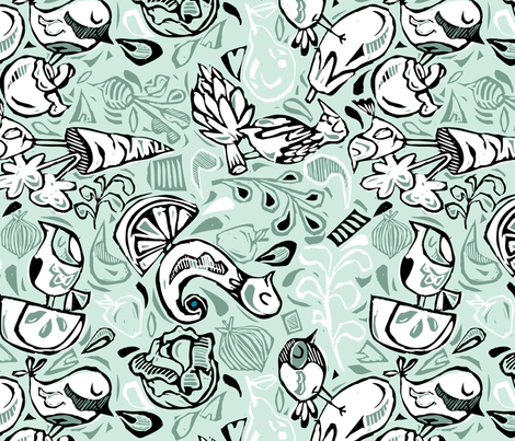 Fruits and Vegeta-birds- Light Hues fabric by gsonge on Spoonflower - custom fabric