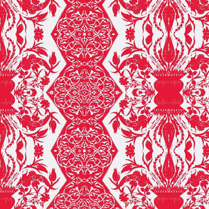 Tahtakale Flowers Upholstery Twill White-Red