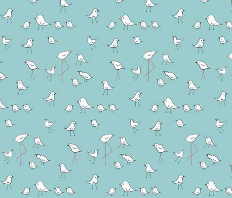 birds blue fabric by anaki on Spoonflower - custom fabric