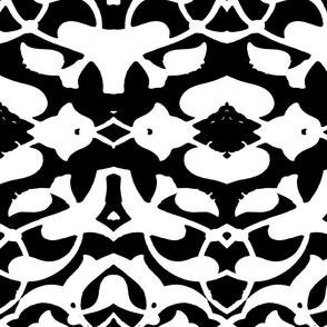 Tahtakale Pattern Silk Crepe de Chine-White-Black