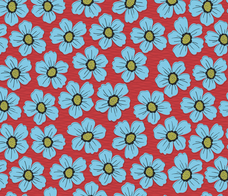 retro blossom blue fabric by littlerhodydesign on Spoonflower - custom fabric