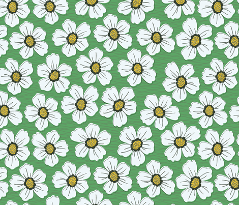 retro blossom green fabric by littlerhodydesign on Spoonflower - custom fabric