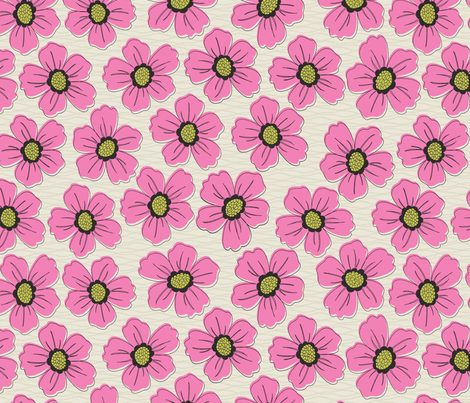 retro blossom pink fabric by littlerhodydesign on Spoonflower - custom fabric