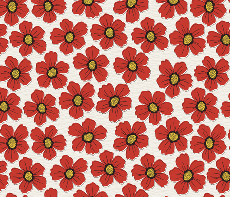 retro blossom red fabric by littlerhodydesign on Spoonflower - custom fabric