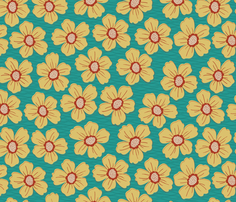 retro blossom teal fabric by littlerhodydesign on Spoonflower - custom fabric