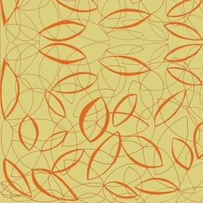 orange and beige abstract leaves