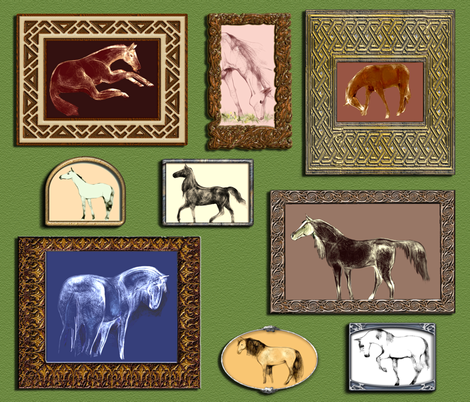 Horse Portraits 3 fabric by eclectic_house on Spoonflower - custom fabric