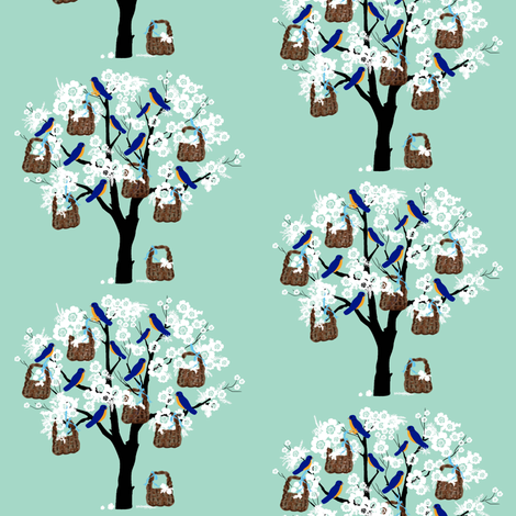 Bluebirds, Baskets and Blossoms Large print fabric by karenharveycox on Spoonflower - custom fabric