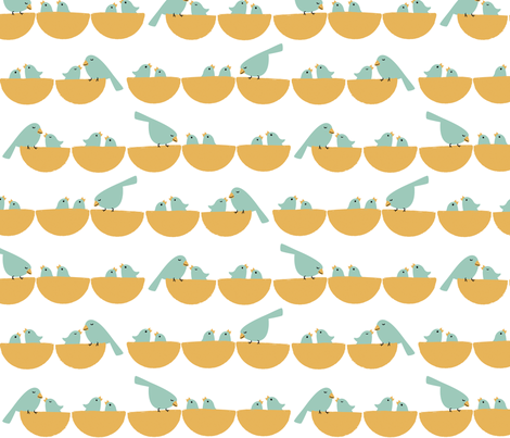 nesting birds fabric by juliannlaw on Spoonflower - custom fabric