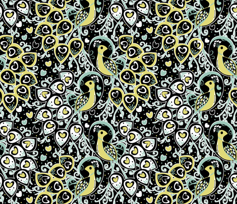 Hello Peacock fabric by mktextile on Spoonflower - custom fabric