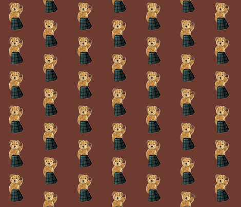 bear_in_a_kilt_on_brown fabric by kortnee on Spoonflower - custom fabric