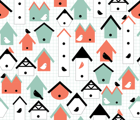 birds and houses fabric by babysisterrae on Spoonflower - custom fabric