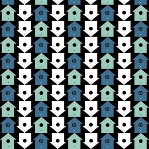 Birds in blue - birdhouses