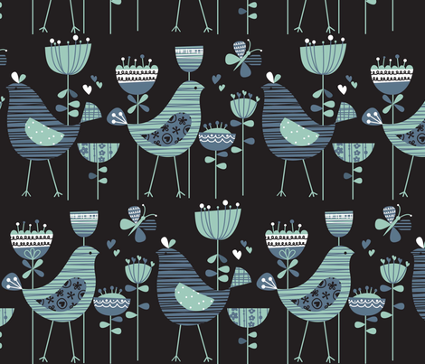 chirpy chirp tweet black fabric by amel24 on Spoonflower - custom fabric
