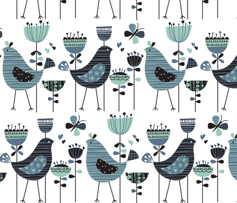 chirpy chirp tweet white fabric by amel24 on Spoonflower - custom fabric
