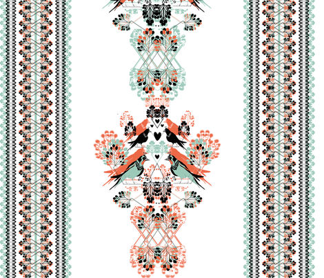 Sparrows with ornament fabric by l2na on Spoonflower - custom fabric