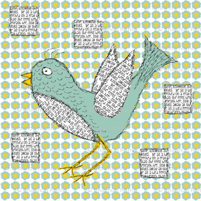Doodled & texted bird