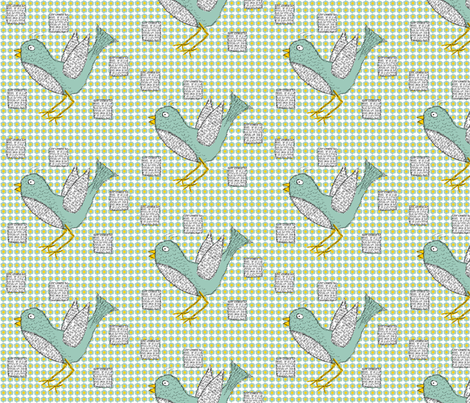Doodled & texted bird fabric by shannon-mccoy on Spoonflower - custom fabric