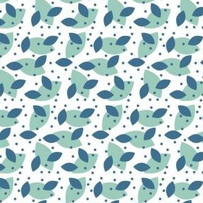 Birds in blue - leaves