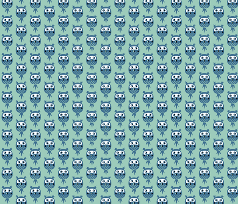 Birds in blue - owls fabric by bora on Spoonflower - custom fabric